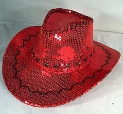 RED SEQUIN COWBOY HAT western hats dance party items novelty
