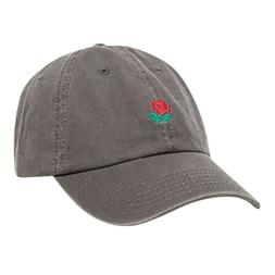 Rose Embroidered Dad Hat Women Men Cute Adjustable Cotton Fl