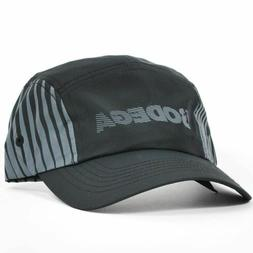 BODEGA Running 5 Panel Polyester Camp Hat Black Grey Adjusta