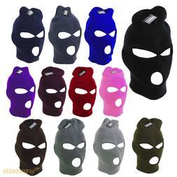 Ski Mask Beanie 3 Hole Warm Face Mask Winter Plain Colors Kn