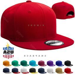 Snapback Hat Classic Hip Hop Flat Brim Baseball Cap Solid Bl