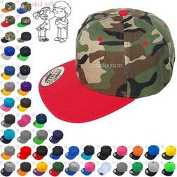 Snapback Hat Kids Solid Blank Boys Girls Toddler Visor Flat