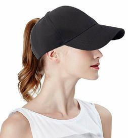 Fgss Solid Ponytail Hat Baseball Women Cotton Adjustable