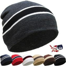 Striped Short Beanie Skull Cap Solid Color Men Women Winter