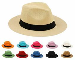 Summer Big Brim Panama Hat, Fedora Flat Brim Beach Sun Fedor