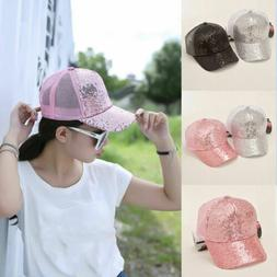 Summer Glitter Adjustable Mesh Trucker Ponytail Baseball Cap