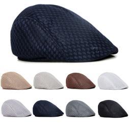 Summer Men's Breathable Mesh Beret Newsboy Hats Ivy Cap Cabb