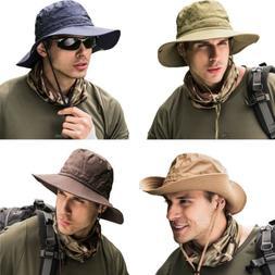 Summer Men's Sun Hat Bucket Fishing Hiking Cap Wide Brim UV