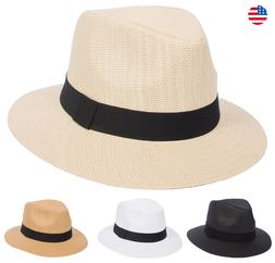 Summer Panama Wide Large Brim Fedora Straw Hat Cuba Ecuador