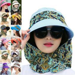 Sun Visor Hats For Women Neck Flap Wide Brim UV Protection P