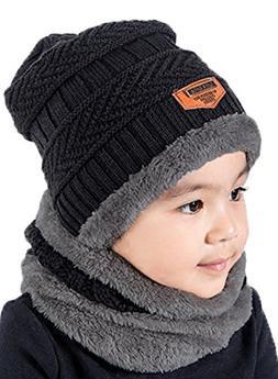 T-wilker 2 Pcs Kids Winter Knitted Hats + Scarf Set Soft Str