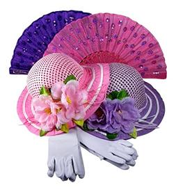 Girls Tea Party Hats Dress Up Play Set For 2 with Sun Hats G