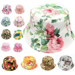 Toddler Baby Kids Boys Girls Floral Boho Caps Beach Bucket H