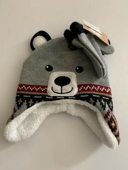 toddler boys bear face sherpa hat