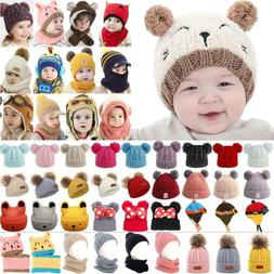 Toddler Kids Infant Boys Girls Winter Warm Knitted Fur Pom B