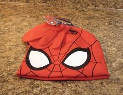 Toddler Marvel Spider-Man Boys Hat And Mitten Set NEW