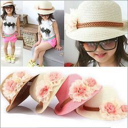 Toddlers Infants Baby Girls Summer hats Straw Sun Beach Hat
