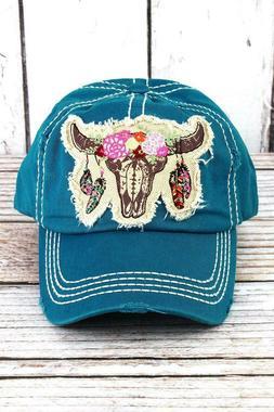 KBETHOS Turquoise Feather Steer Women's Hat