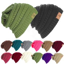 Unisex Knitted Skull Messy Slouchy Baggy Beanie Oversize Win