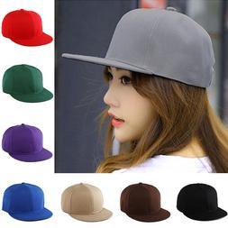 Unisex Solid Color Blank Plain Snapback Hats Hip-Hop Adjusta