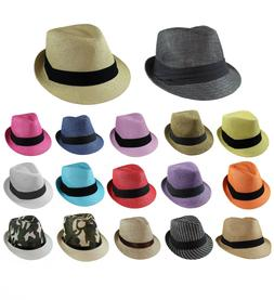 Gelante Unisex Summer Fedora Panama Straw Hats with Band