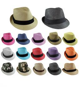 Gelante Unisex Summer Fedora Panama Straw Hats with Band