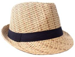 Unisex Summer Panama Straw Fedora Hat Short Brim Beach Sun C