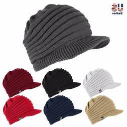 Unisex Winter Visor Beanie Knit Hat Cap Crochet Men Women Sk