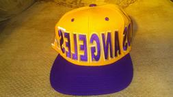 Unworn City Hunter Yellow & Purple Los Angeles Snap Back Cap