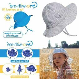UPF 50+ Cotton Sun Hat Adjustable W Strap For Baby Boy Girl