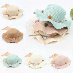 US Baby Girls Flower Fashion Straw Hats for Children Summer