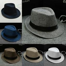 US Classic Mens Women Straw Fedora Hat Wide Brim Panama Hat
