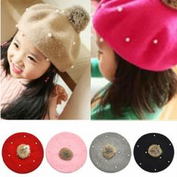 US Fashion Wool Hats with Pearls Retro Baby Girl Beret Cap f