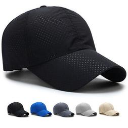 US Summer Men Women Plain Golf Hat Mesh Breath Curved Visor
