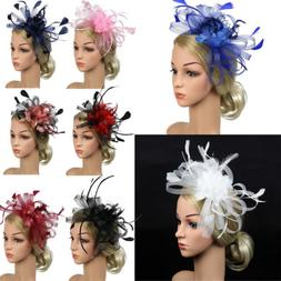 US Women Wedding Party Feather Pearl Mesh Fascinator Hat Hai