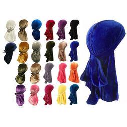 Velvet Durag Premium Men's Doo Rag Hats Silky Wave Cap Desig