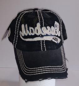 KBETHOS Vintage Distress BASEBALL USA Baseball Cap Hat, Blac
