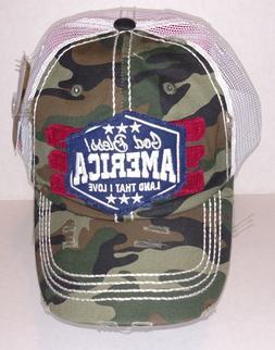 Kbethos Vintage Distressed GOD BLESS AMERICA Baseball Cap Ha