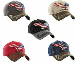 Kbethos Vintage Distressed Hat Baseball Cap -Eagle Flag USA-