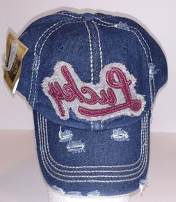 KBETHOS Vintage Distressed LUCKY Baseball Cap Hat, Blue Deni