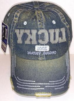 Kbethos Vintage Distressed LUCKY Baseball Cap Hat, Denim ~ N