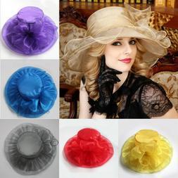 Vintage Women Wide Brim Kentucky Derby Sun  Cap Hat for Wedd