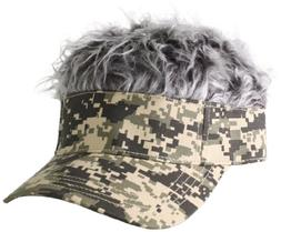 Flair Hair Men's Camo Visor and Hair, Grey, One Size