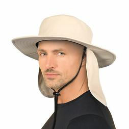 Wide Brim Hat for Men Outdoor Sun Protection Hat w/Neck Flap