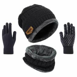 Winter 3 Piece Set Knit Beanie Hat Scarf Touchscreen Gloves
