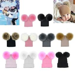 Winter Baby Boys Girls Women Warm Knitted Hat With Two Pompo