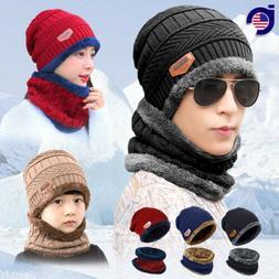Winter Beanie Hat Scarf Set Fleece Warm Balaclava Snow Ski C