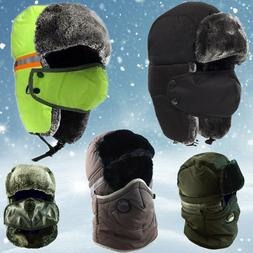 Winter Bomber Trapper Hats Face Mask Fur Warm Aviator Russia