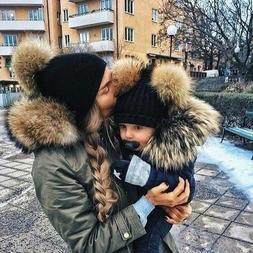 Winter Double Plush Ball Cap Hat for Women Baby Girls Knitte