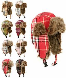 Winter Faux Fur Plaid Trapper Hat Aviator Ski Warm Hunting H